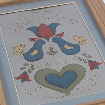 Vintage Punched Tin, Handpainted Welcome Sign, Pennslyania Dutch, K.B and Company, Blue Birds, Flowers, Hearts