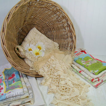 Vintage Old Lace & Faded Linens Collection in a Large Round Heavy Wicker Laundry Basket - Rustic Grape Vine Gift Basket Full of 16 Pieces