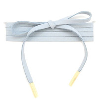 Thick Faux Suede Wrap Around Choker Pole Necklace - Slate Blue