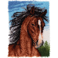 Wonderart Stallion Latch Hook Rug Kit Craft Kit 27 x 20 Square Made in the USA