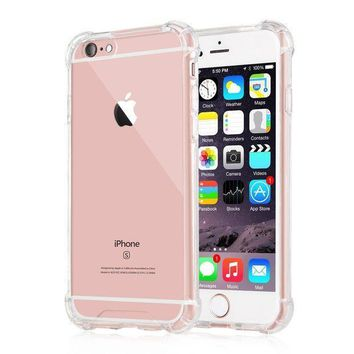 Iphone 6 Plus / 6s Plus Case Ixcc Crystal Cover Case [shock Absorption] With Transparent Hard Plastic Back Plate And Soft Tpu Gel Bumper   Clear