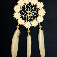 Floral White Dream Catcher/ Handmade Dream Catcher