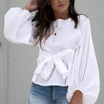Daybreak White Puff Sleeve Top With Tie