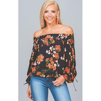 Navy Coral Floral Off Shoulder Blouse