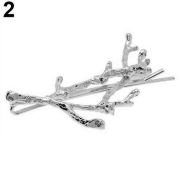 ESBG8W 1 Pc Vintage Women Girl Antler Deadwood Hairpin Bobby Pin Hair Clip Accessory