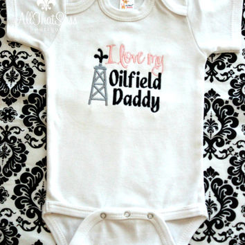 Oilfield Daddy Bodysuit or Tee With or Without Matching Bow - Baby Girls Embroidered Clothing - Boutique - Over The Top - Oil