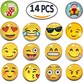 Yellow Face Emoji Refrigerator Magnets - Pack of 14
