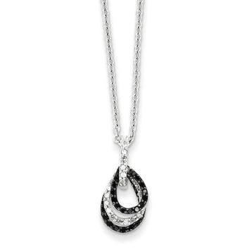 Black & White Diamond Tiny Triple Teardrop Necklace in Sterling Silver