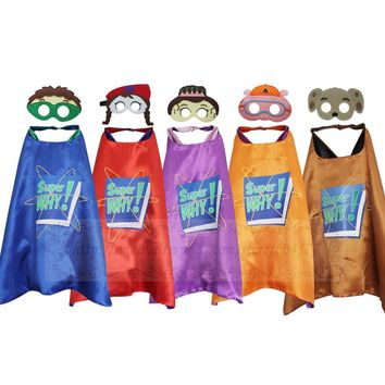 Cool Super Why Costumes Cape with Masks Cosplay Party Favors Kids Wyatt Princess Pea Wonder Red Dress UpAT_93_12