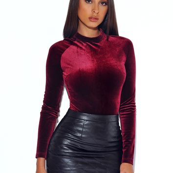 SAY LESS VELVET BURGUNDY BODYSUIT
