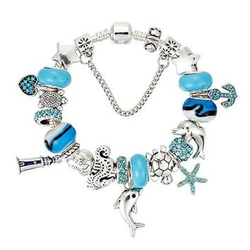Dolphin & Starfish Charm Bracelet with Blue Murano Glass Beads Ocean Jewelry