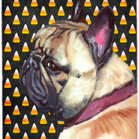 French Bulldog Frenchie Candy Corn Halloween Glass Cutting Board Large LH9552LCB