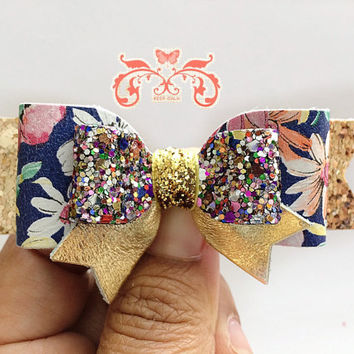 Baby Girls Navy Blue Floral Glitter Bow, Glitter Bows, Glitter Hair Clips, Flower Hair Clips, Floral Leather, Baby Headbands
