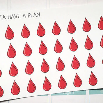 Planner Stickers Blood Drop for Erin Condren, Happy Planner, Filofax, Scrapbooking