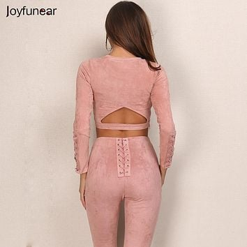 New Suede Leather 2 Piece Set Sexy O-neck long sleeve tight  bandage Top And High-Waist pants Slim Sheath Bodycon two pieces set