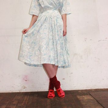 Vintage 1980's Pale Blue Wrap Dress Medium