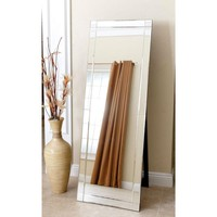 Modern Full Length Floor Standing Beveled Mirror in Silver Finish