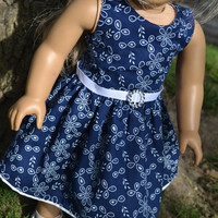 American Girl Doll Clothes, 18 in Doll Clothes- Blue and White Eyelet dress