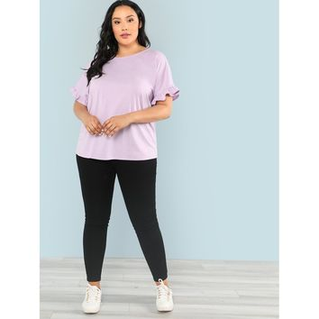 Womens Ruffle Trim Cuff Solid Tee - Plus Size