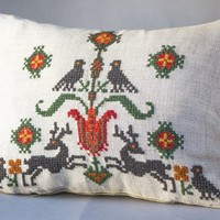 Reindeer birds pillow cover Scandinavian vintage. Cross stitch pillow handmade. Cushion cover linen beige Cross Stitch Embroidery Home decor