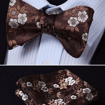 Chocolate Brown Floral Silk Bowtie with Pocketsquare Self Tie