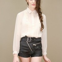 Black, motor city faux leather shorts by UNIF with chunky zippers | shopcuffs.com