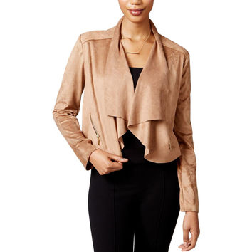 Bar III Womens Faux Suede Cropped Cardigan Top