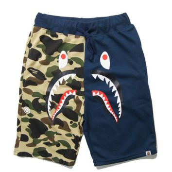 Bape Aape Summer Fashion New Shark Tiger Print Camouflage Women Men Splice Shorts Blue