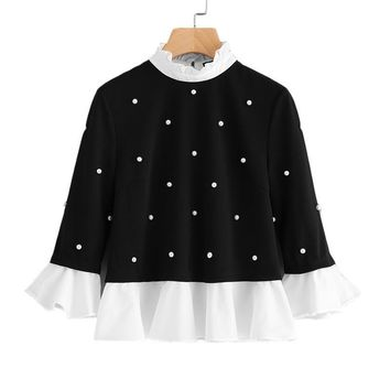 Women Pearl Embellished Top Contrast Collar Three Quarter Length Flare Sleeve Blouse