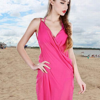 Women Summer Beach Dress Ladies' Chiffon plain Wrap Swimwear Swimsuit Beach Bathing Suit Cover Up Bikini Scarf Pareo