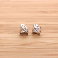 sterling silver 3D DIAMOND shaped with crystal stud earrings | girlsluv.it