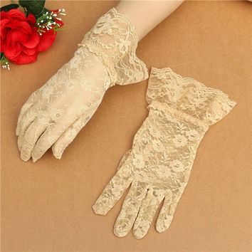 Women Sexy Lace Gloves Full Finger Prom Driving Costume Gloves