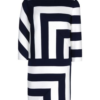 MSGM Navy and White Quilted Stripe Dress - Shift Dresses - ShopBAZAAR