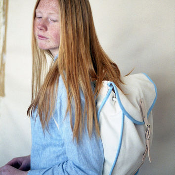 White & Blue Heap Line Backpack - Handcrafted street style backpack - Vintage inspired retro bag