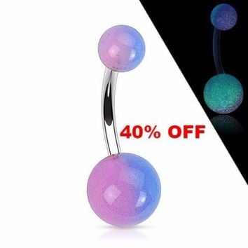 Purple Glow In the Dark Surgical Stainless Steel Navel Ring Belly Button Ring Body Jewelry Black Friday Cyber Monday