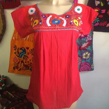 Mexican Tehuacan Embroidered Blouse Red