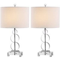 Safavieh Moira Crystal Table Lamp with CFL Bulb, Clear with Off-White Shade, Set of 2 - Walmart.com