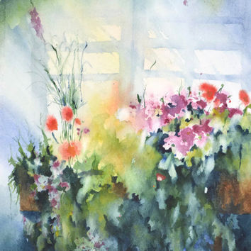 Original Watercolor Painting PRINT, Flower Print Art Abstract, Floral Artwork Wall Decor Hanging,Colorful Flower Bouquet, Chabby Chic Spring