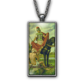 Saint Martin of Tours Painting Religious Pendant Necklace Jewelry