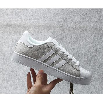 Originals Adidas Superstar W Men's Women's Shiny Shell-toe Classic Sneaker Sprot Shoes Silver/White - S75125
