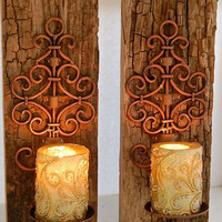 """Reclaimed Barnwood sconce-Copper Iron Swirl and Reclaimed Wood Sconces 16"""" Tall 6"""" across  total width is 6"""" - Barnwood Driftwood 2"""" thick"""