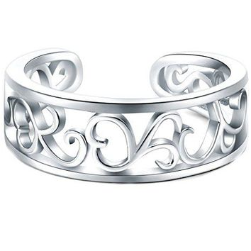 925 Sterling Silver Toe Ring, BoRuo Flower Hawaiian Leaf Adjustable Band Tail Ring