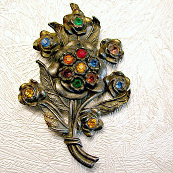 Flower Bouquet Brooch, Little Nemo, Big Floral Cluster, Pot Metal, Multi Color Rhinestones, Signed LN/25, Costume Jewellery