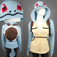 Squirtle Pokemon Costume Hoodie with Shell Backpack