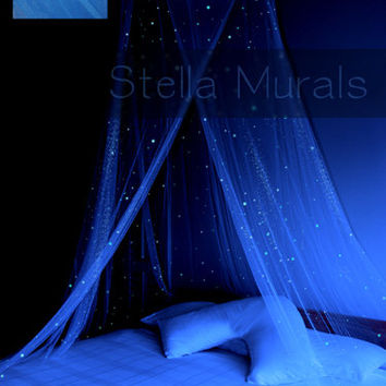 Glow in the Dark Stella Murals Star Canopy - BLUE - Surround your bed with stars!
