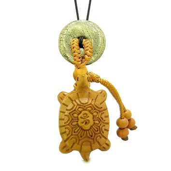 Good Luck Turtle Cute Car Charm or Home Decor Golden Pyrite Iron Lucky Coin Donut Protection Power Amulet