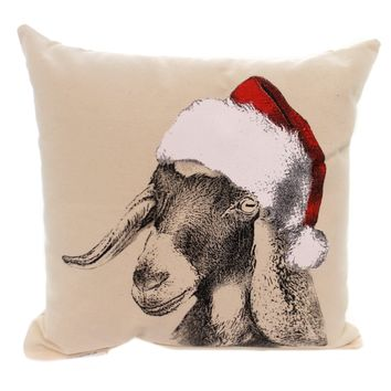 Christmas GOAT HEAD W/SANTA HAT PILLOW Fabric Made In Usa Mpsantagoat2