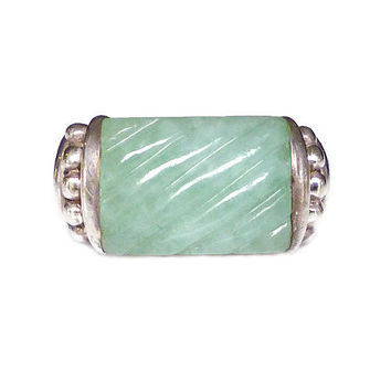 Judith Ripka Ring Jade Sterling Silver Celadon Green Modernist Vintage Jewelry