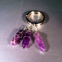 Rocker, hexagon, amethyst, light purple, wire wrapped, double terminated point, keychain