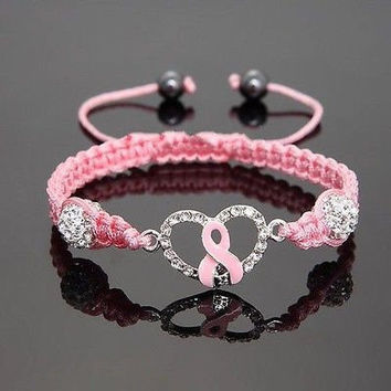 Ribbon of Hope Crystal Charm - Breast Cancer Awareness Bracelet